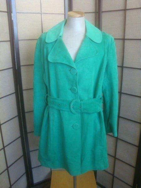 14162 VINTAGE Terrific Green Woman's Suede Leather Coat Jacket Boutique Donna #BoutiqueDonna #BasicJacket