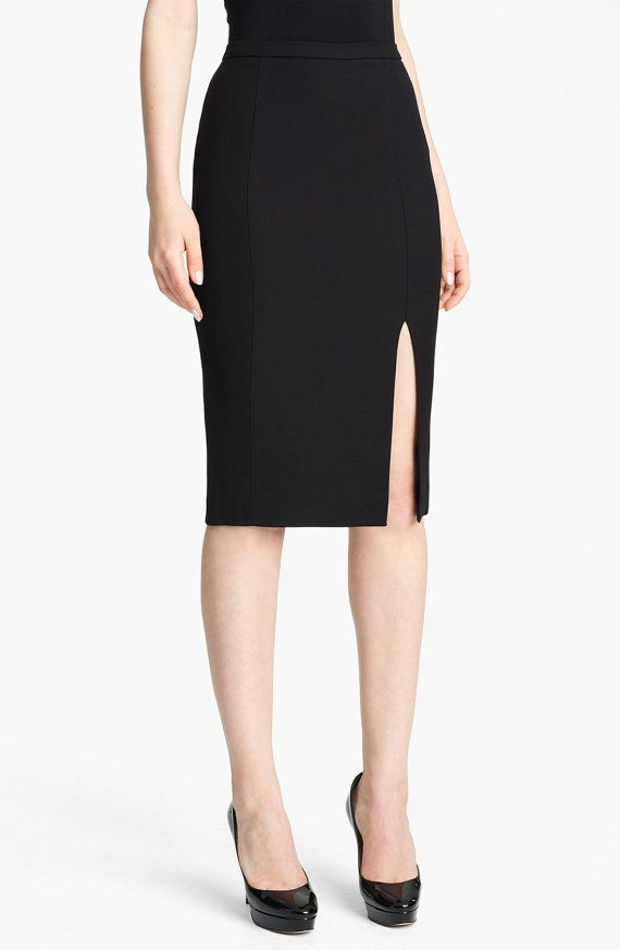 Classic pencil skirt with front slit, high quality ,tailor made ...