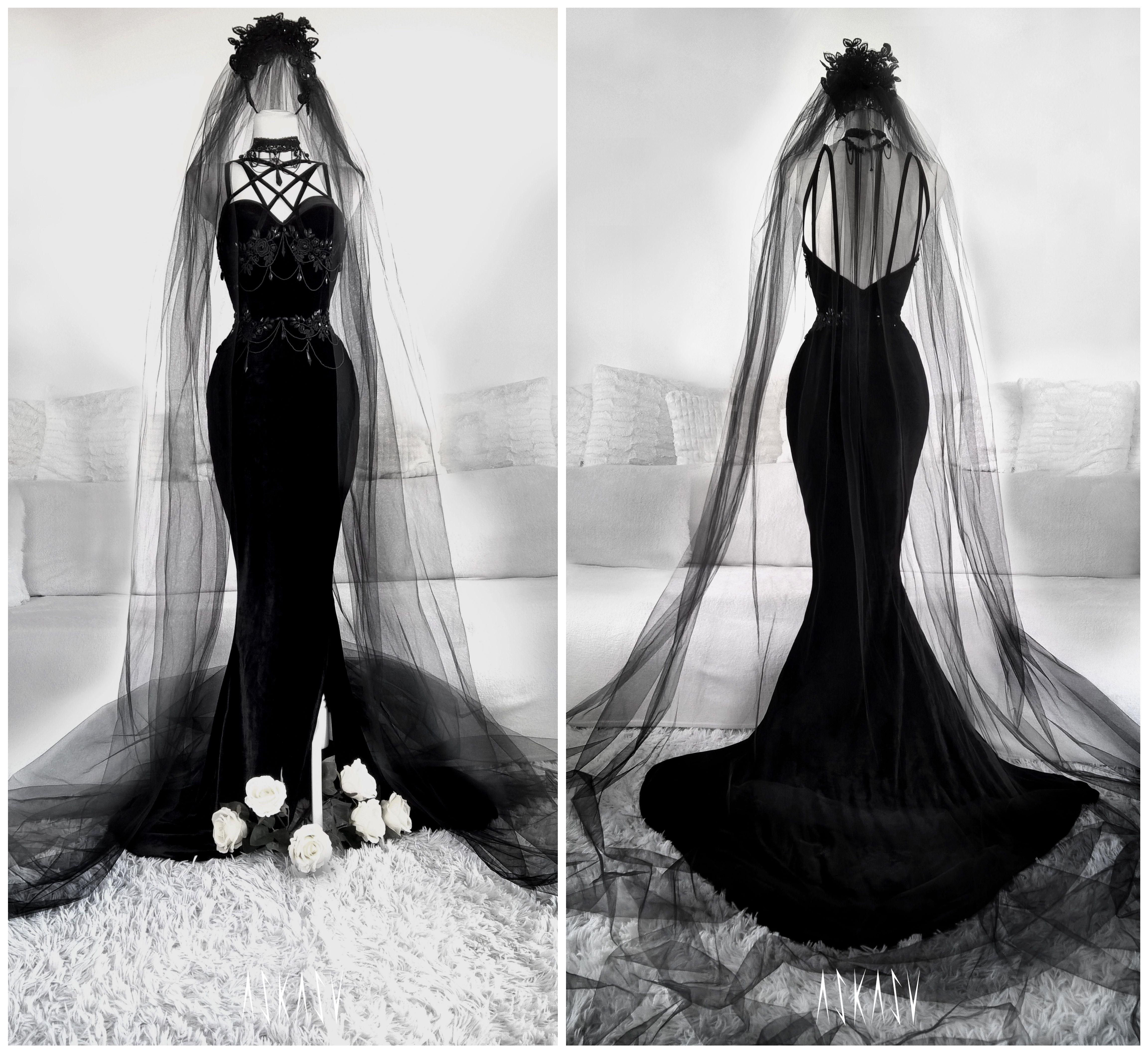 Velvet Gown By Askasu Black Weddingdress Blackgown Goth Morticia Addams Sirendress Veil Harness