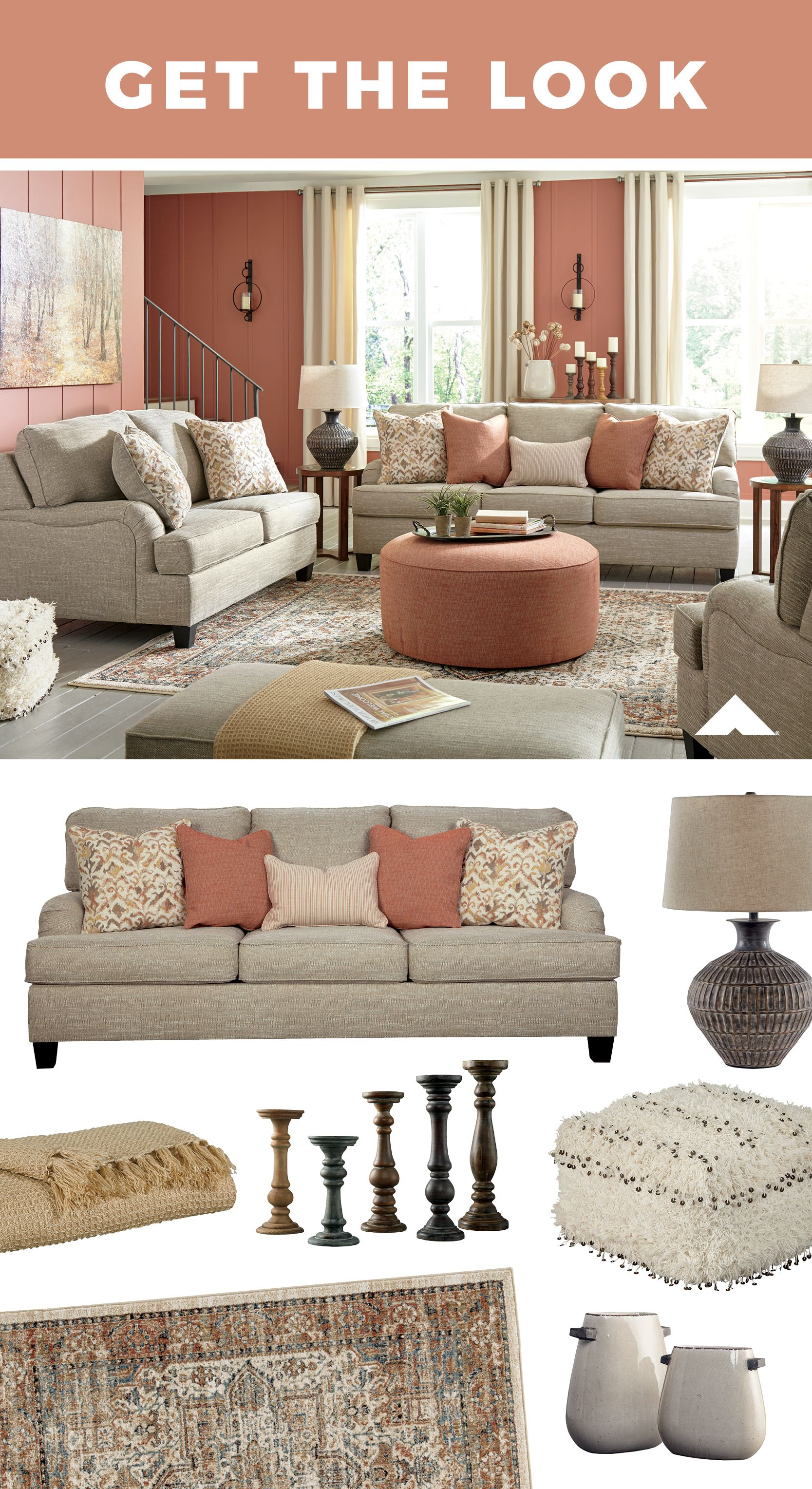 Get The Look From Ashley Furniture Home Decor Living Room Pink And Coral Accents And Ashley Furniture Living Room Modern Furniture Living Room Living Room