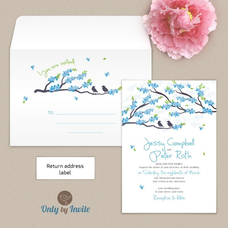 Blue cherry blossom wedding invitation and envelope pack | Wedding ...