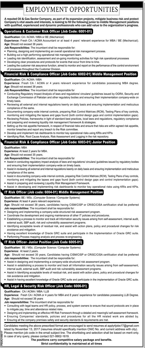 Oil And Gas Company Jobs  In Karachi For Operations And It