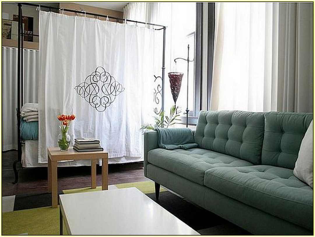 Wonderful White Curtain Room Dividers For Studio Apartment With Green Seating And  Small Bedding On Yellow Rug
