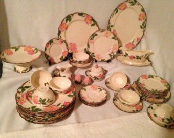 Franciscan Desert Rose 40 Pc Dinnerware Set for 8 -USA 1950\u0027s TV St& - 5 Pc Place Settings -Dishes Bowls Cups Saucers Plates & Franciscan Desert Rose 40 Pc Dinnerware Set for 8 -USA 1950\u0027s TV ...
