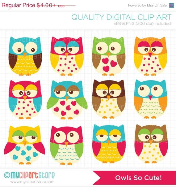 À la vente  chouettes mignons Clip Art / Digital par MyClipArtStore, $2.60