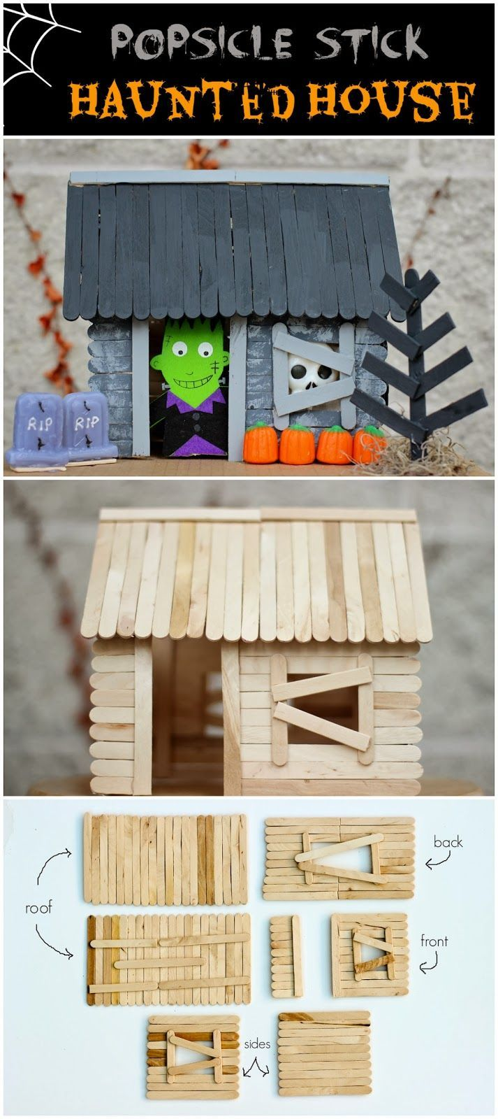 House design using popsicle sticks - How To Make A Popsicle Stick Haunted House Diy Craft Halloween Crafts How To Tutorials Halloween Decorations Halloween Crafts Halloween Diy Halloween Decor