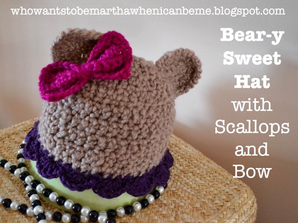 Crocheted bear hat with scalloped edge and bow.   Crochet/Knit ...