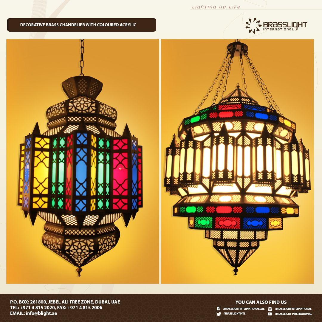 Looking for small or big chandelier with coloured acrylic weve got specialists in brass chandeliers antique lights commercial lights interiorexterior lights leading manufacturer distributor in the middle east arubaitofo Choice Image