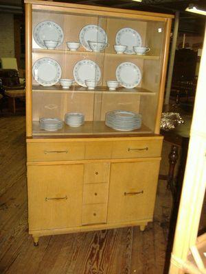 mid century modern china cabinet vintage blonde blond glass door retro ebay