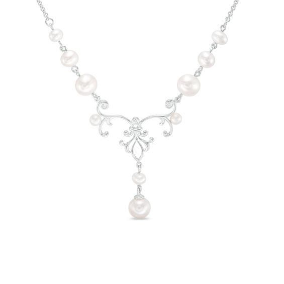 Zales 7.0mm Cultured Freshwater Pearl V Necklace in Sterling Silver with 14K Gold Plate R04eh0xHqe
