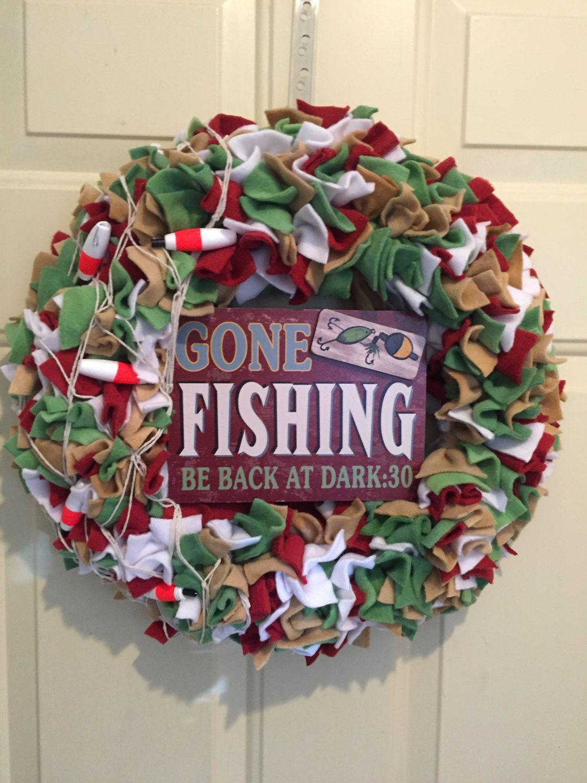 cabin decor Fishing wreath fishing wreaths fishing wreaths cabin cabin wreath lake house wreath fishing decor fisherman wreath