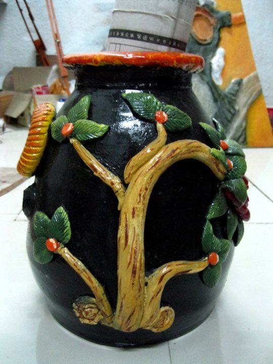 Best From Waste - EMBOSS art work on pots   www.graceartworld.com | Tweet @graceartworld