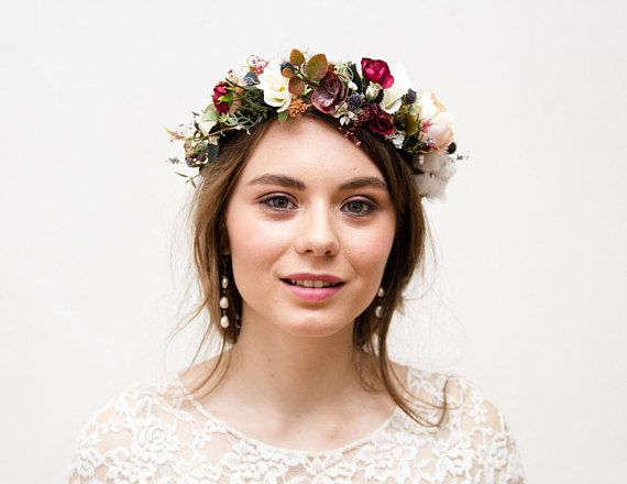 Beige Burgundy wedding flower crown 746a8478bfb