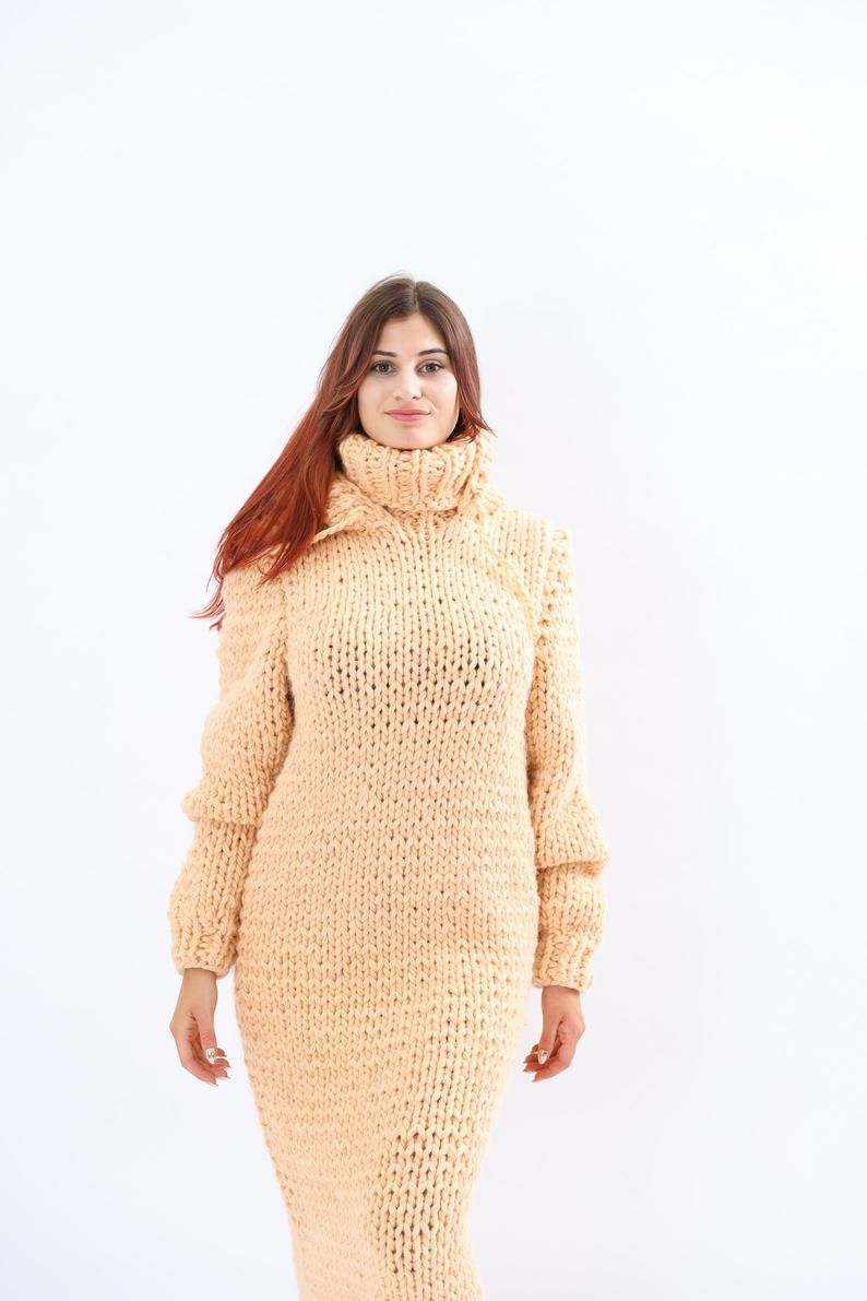 Hoodie wool dress Knit wool sweater dress Huge turtleneck