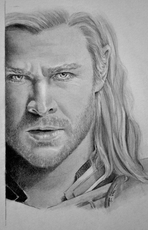 Pencil Face Drawing Thor