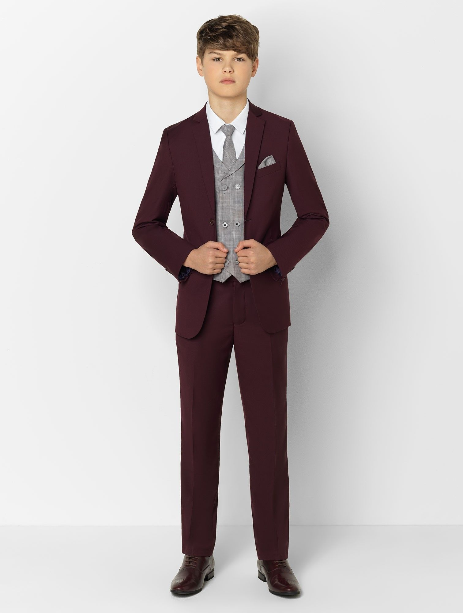 Boys burgundy & grey check slim fit suit Boys burgundy