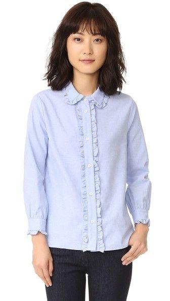 a690794e ENGLISH FACTORY Ruffle Button Down Shirt. #englishfactory #cloth #dress  #top #shirt #sweater #skirt #beachwear #activewear