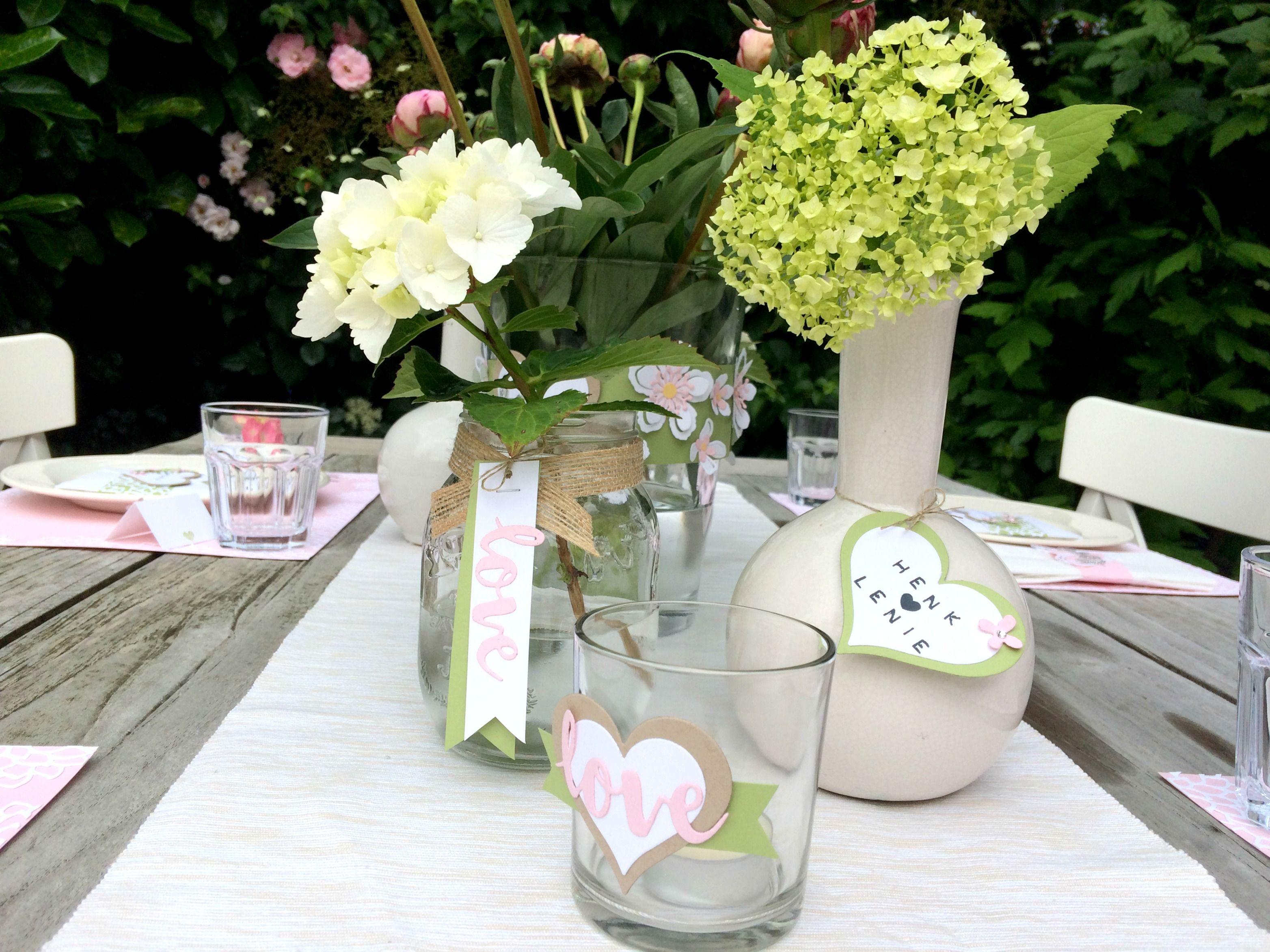 Tischdeko von Herzen Blumen Basteln Papier Stempel Stampin Up