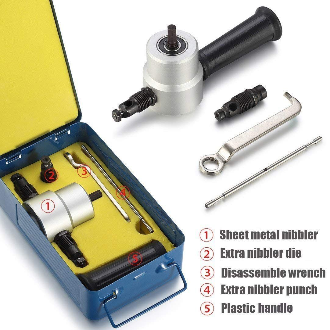 Double Head Metal Sheet Nibbler Cutter By Atl Drill Attachment Metal Nibbler Tool Kit With Wrench And Extra Nibbler Parts A Metal Cutter Step Drill Iron Tools