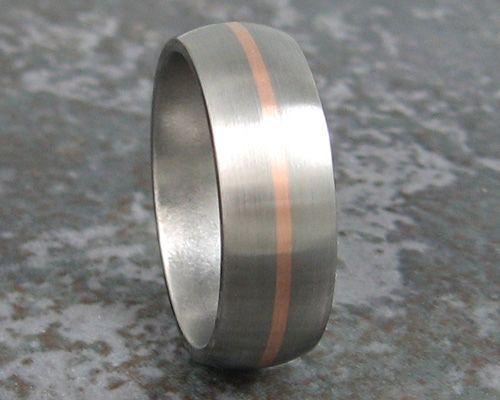 Titanium Rose Gold Wedding Band Ring Mens For Grant