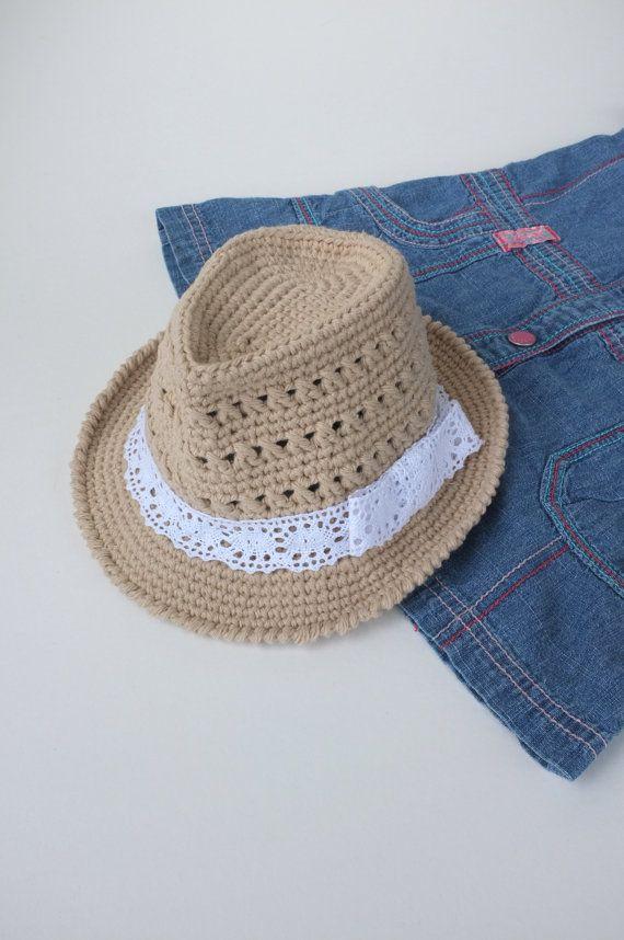 77d23dcdf Baby Girl Fedora Hat Crochet Toddler Fedora Cotton Summer Hat ...