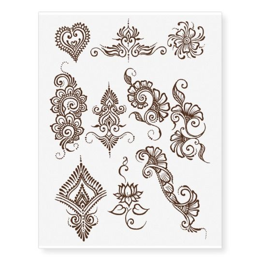 Simple Henna Design Temporary Tattoo Sheet Brown Zazzle Com Henna Designs Easy Henna Designs Simple Henna
