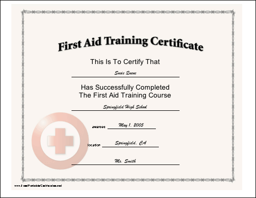 Doc506391 First Aid Certificate Template First Aid Training – Training Course Certificate Template