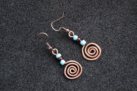 Paired Up Twisted Swirl Copper Headpins