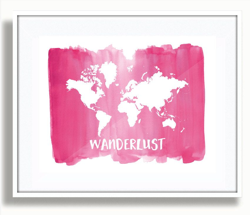 Wanderlust print watercolor world map world map print pink wanderlust print watercolor world map world map print pink watercolor wanderlust world map poster travel map wall art home decor by studio5565 gumiabroncs Images