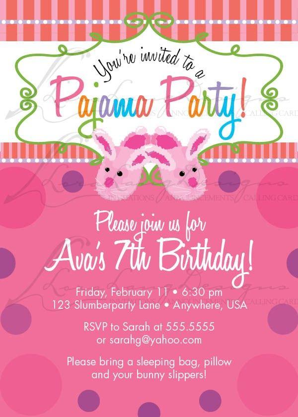 DIY Printable Cute Pajama Party Birthday Invitation. $12.50, via ...