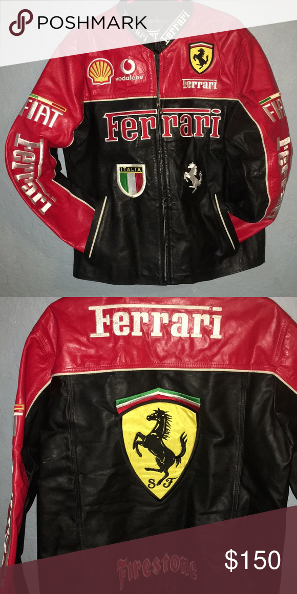 Ferrari Leather Jacket Ferrari Leather Jacket Beautiful Heavy Duty Leather Red Black Size Large Fiat Ferrari Italia Vodafone Leather Jacket Jackets Leather