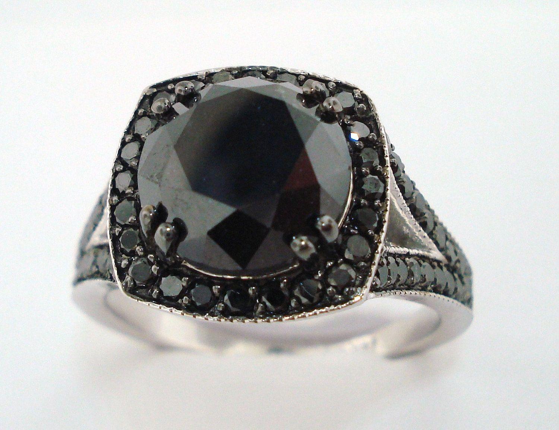 4.35 Carat Fancy Black Diamond Engagement Ring 14K White