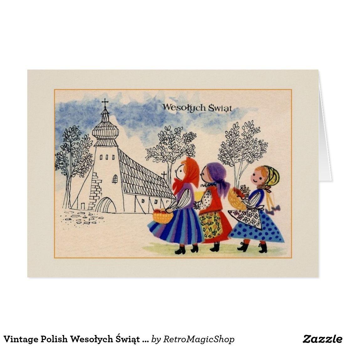 Vintage Polish Wesołych Świąt Christmas Card | Old world holidays ...