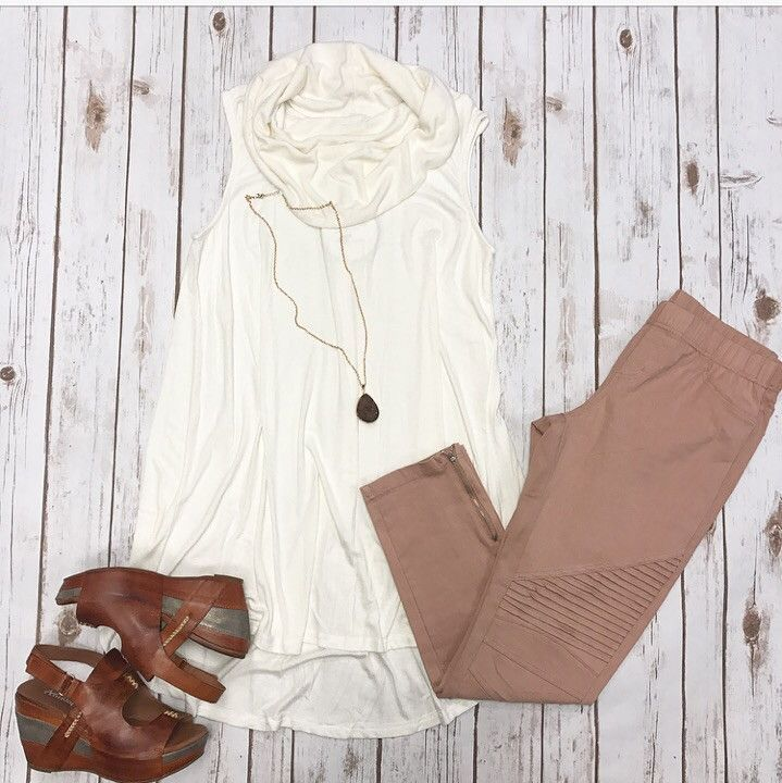 Cowl Neck Tunic Top Ivory