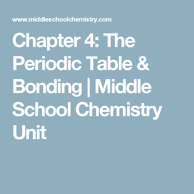 chapter 4 the periodic table bonding middle school chemistry unit - Periodic Table Lesson For Middle School