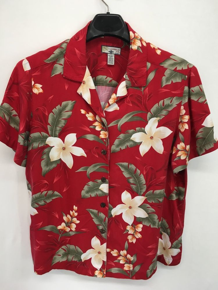 e96ffd55 WOMENS 1X PLUS SIZE 18/20 CARIBBEAN JOE HAWAIIAN SHIRT RED ALOHA FLORAL TOP  #CaribbeanJoe #ButtonDownShirt #Casual