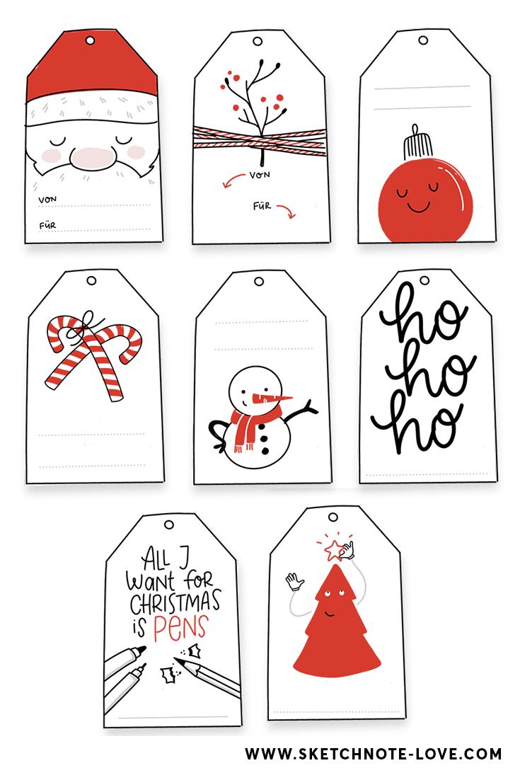 Freebie – Kostenlose Weihnachtsgeschenkanhänger - Sketchnote Love