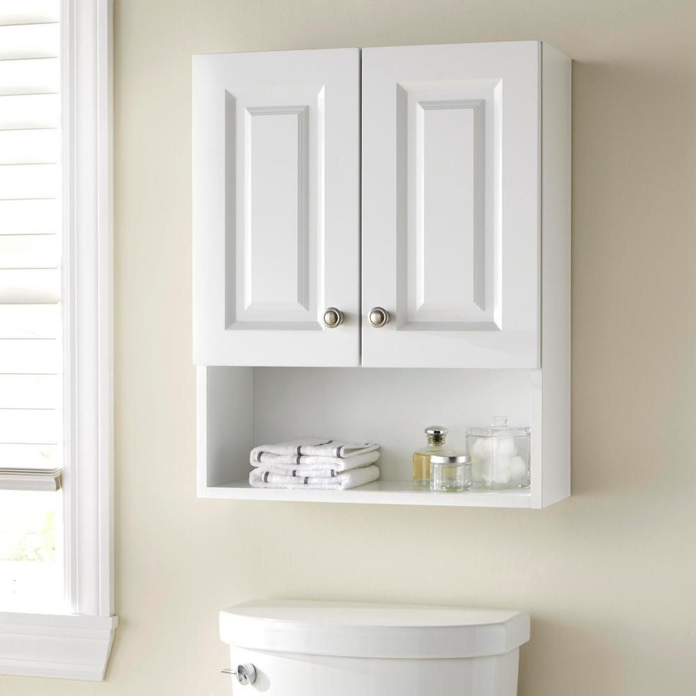 Glacier Bay Lancaster 20 5 In W Wall Cabinet In White Laoj25 Wh The Home Depot Wall Mounted Bathroom Cabinets Small Bathroom Storage Bathroom Cabinets Over Toilet