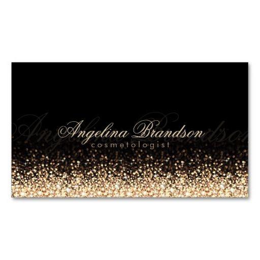 Shimmering Gold Cosmetologist Damask Black Card   Black card and ...