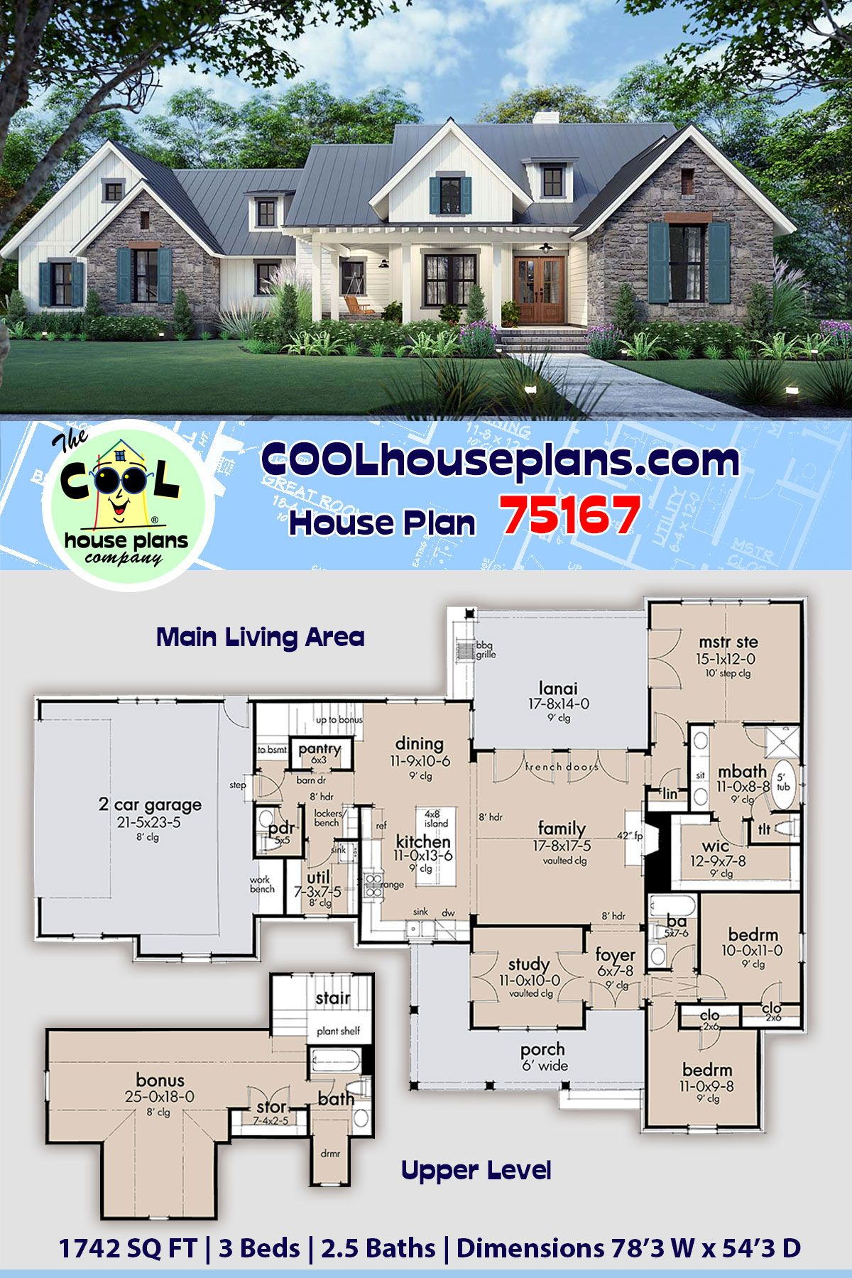 Southern Style House Plan 75167 With 3 Bed 3 Bath 2 Car Garage House Plans Farmhouse Farmhouse Plans House Plans