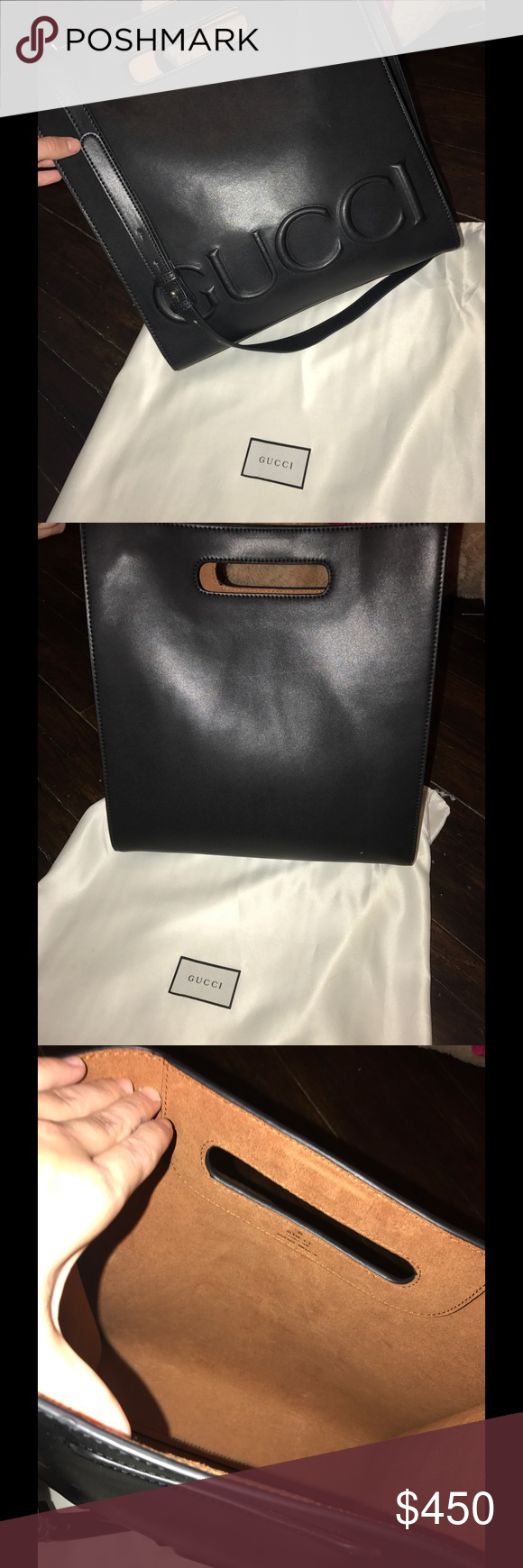 73acd72ea2a39b Gucci XL leather tote bag Gucci XL leather tote bag with strap and dust bag.  Worn only two times, no signs of wear. Real leather, best high quality.