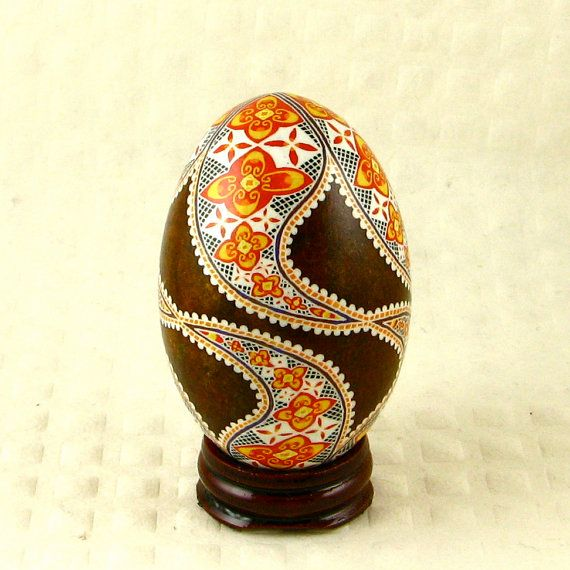 I love Russian Easter eggs.    SALE That Seventies Style A pysanky duck egg by twistedpoppy, $25.00