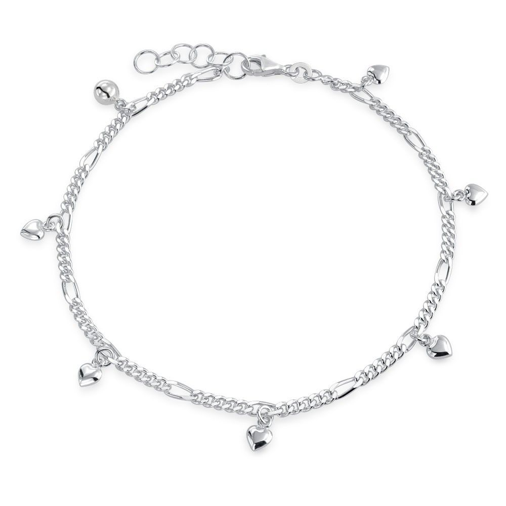 Multi Heart Dangle Charms Anklet Ankle Bracelet 925 Sterling Silver In 2020 Silver Anklets Heart Ankle Bracelet Silver Ankle Bracelet