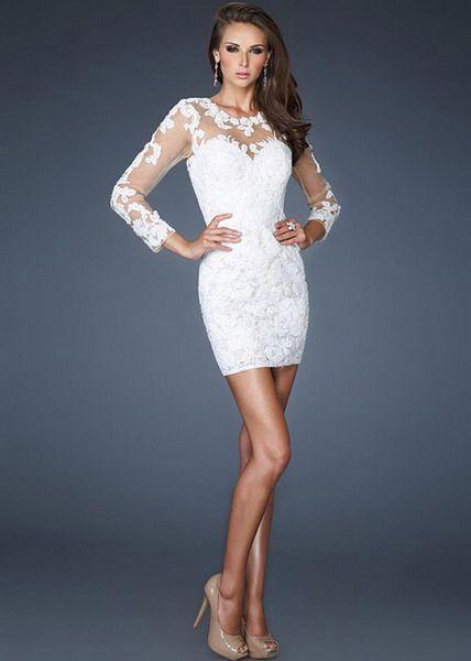 White short evening dresses sale