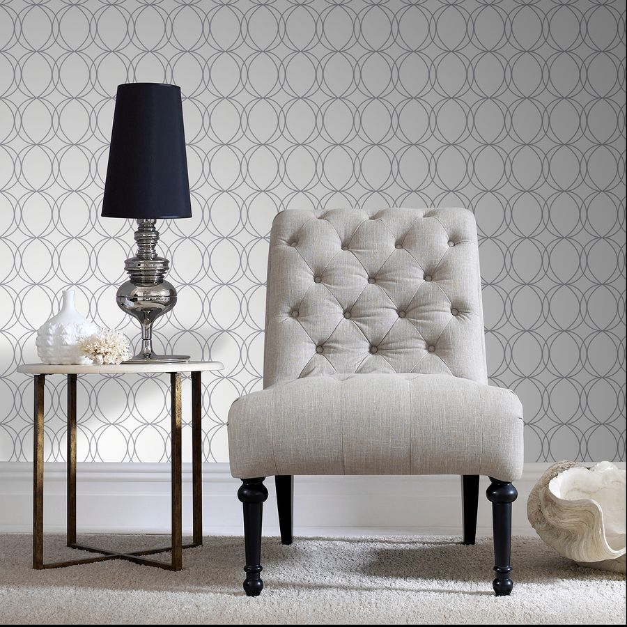 Shop Allen Roth White Silver Strippable Vinyl Unpasted Textured Wallpaper At Lowes