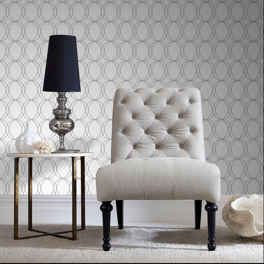 shop allen + roth white/silver strippable vinyl unpasted textured