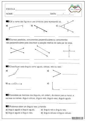 Revisao De Angulos Atividades De Geometria Atividades De