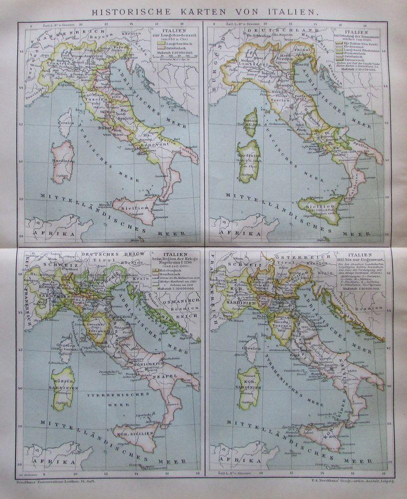 Historische Karten Von Italien 1894 Alte Landkarte Antique Map