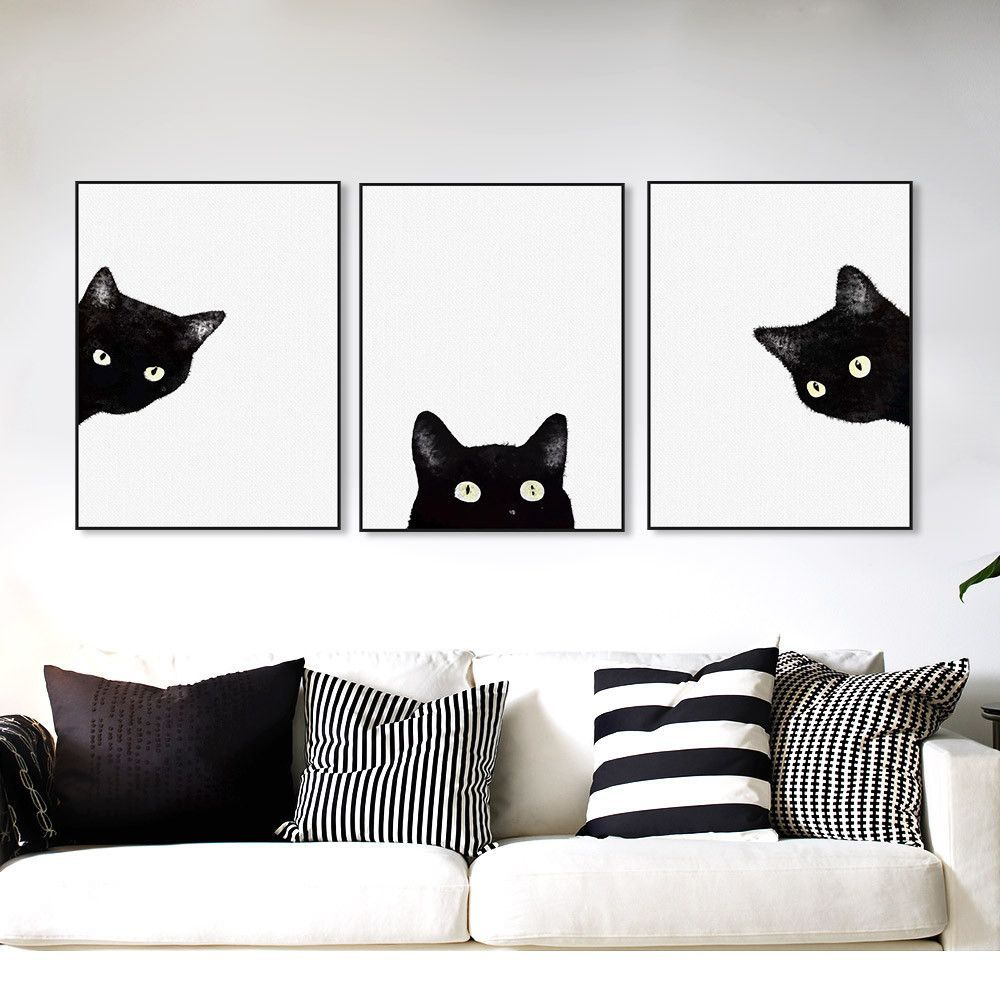 3 Piece Black Cats Head Modern Cute Cat Canvas Print Poster