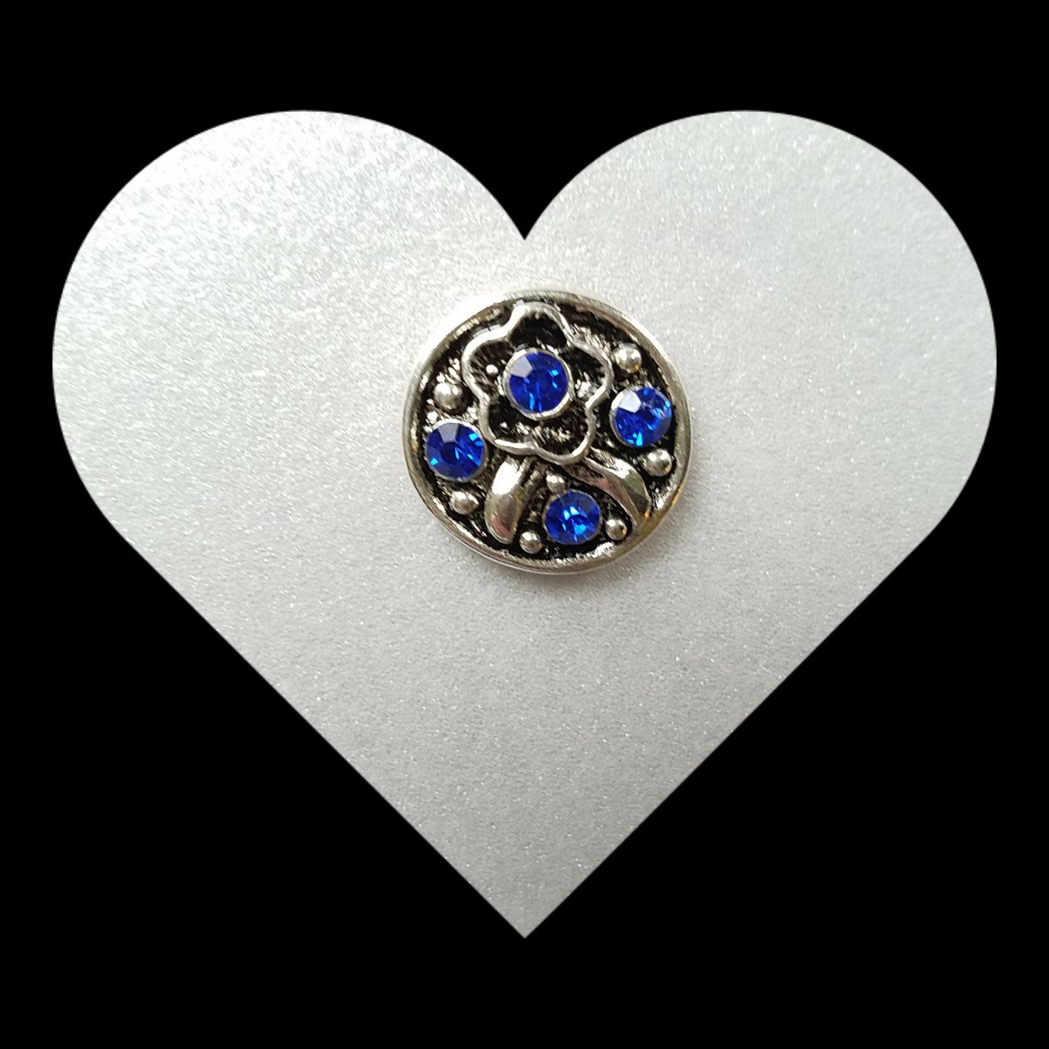 Silver Clear Rhinestone Heart 20mm Snap Charm For Ginger Snaps Noosa Jewelry